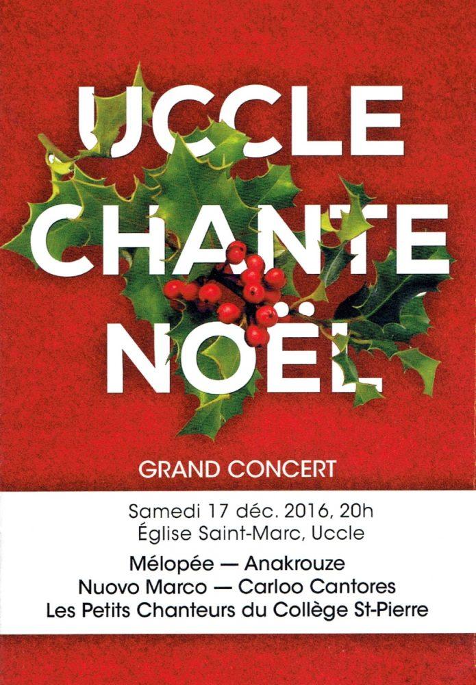 Affiche du concert : Uccle chante Noël 2016 - Choeur Nuovo Marco